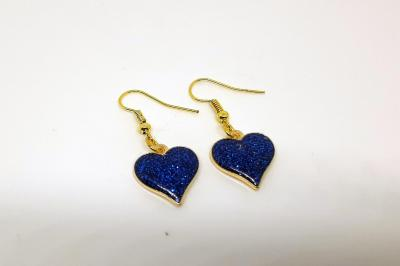 Boucles d'oreilles - Coeur bleu