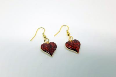 Boucles d'oreilles - Coeur rouge