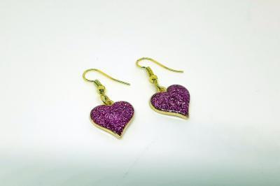 Boucles d'oreilles - Coeur rose