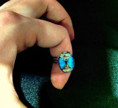 Bague Bleue turquoise Papillon